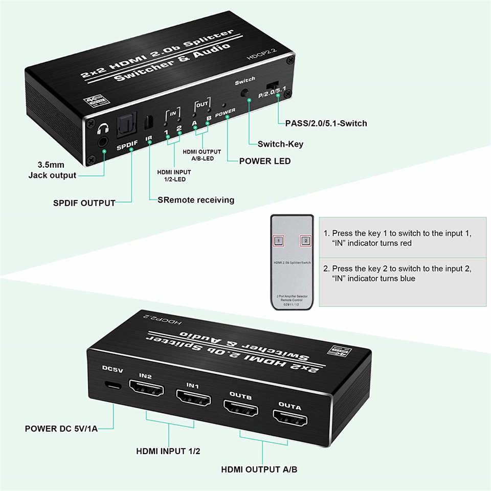 2020 mejor 4K HDMI 2,0 interruptor remoto 2x2 HDR HDMI Switcher Audio Extractor con interruptor óptico HDMI 2,0 para PS4 Apple TV HDTV