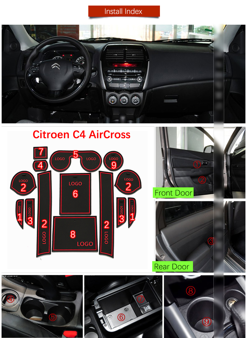 Door Groove Mat For Citroen C4 AirCross 2012 2013 2014 2015 2016 2017 Accessories Anti-Slip Mat Gate Slot Coaster Car Interiors