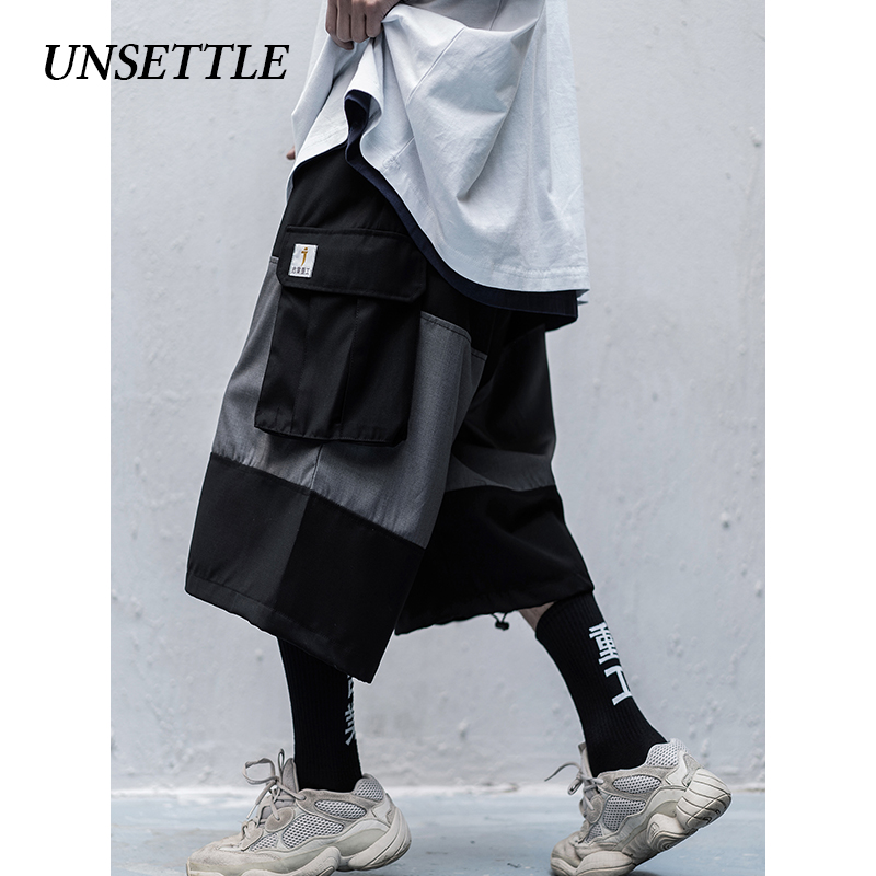 UNSETTLE 2020SS Side Multi Pockets Cargo Shorts Mens Casual Summer Hip Hop Baggy Streetwear Pants Male Joggers Cropped Trousers