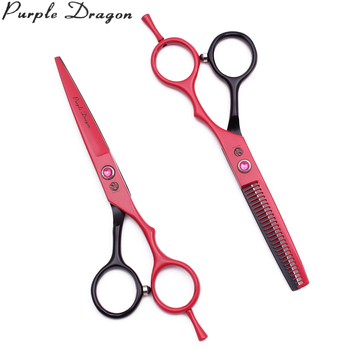 Barber Scissors Hair Cutting 5.5 Purple Dragon Japanese Steel 1013# Hairdressing Scissors Thinning Shears Beauty Scissors Case image