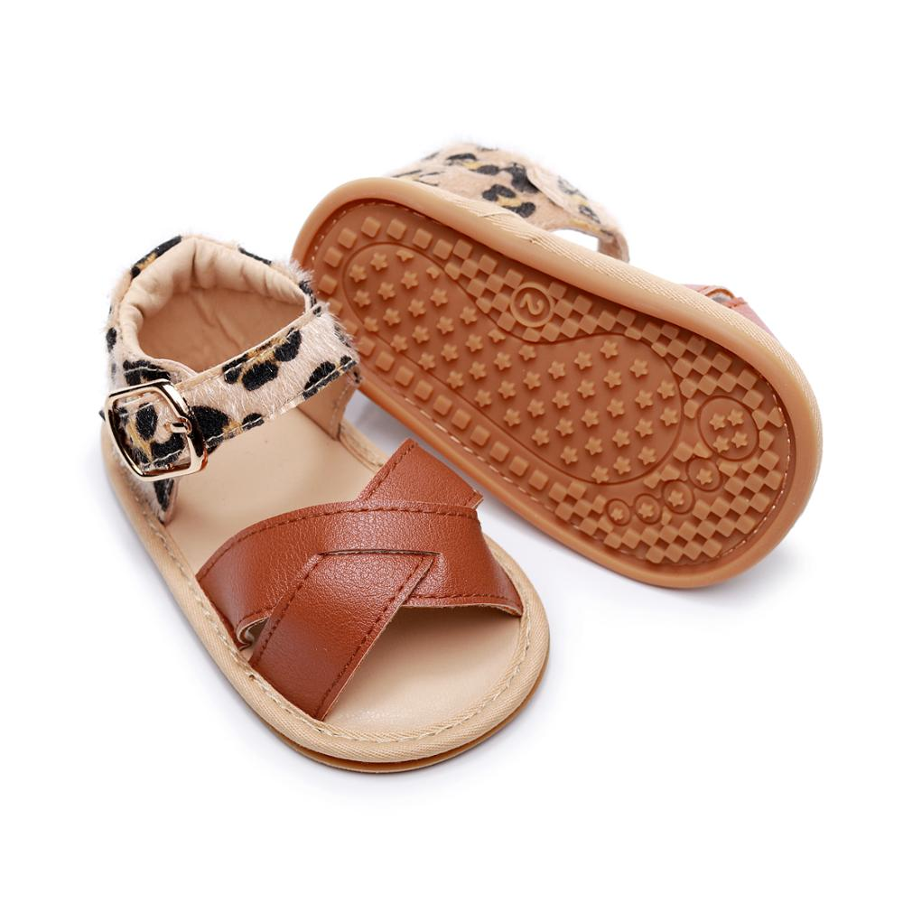 Toddler Summer Sandals PU Leather Newborn Infant Baby Boys Girls Princess Shoes Leopard Non-slip Rubber Shoes Size 0-24 M
