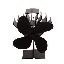 4 Blades Heat Powered Stove Fan Log Wood Burner Quiet Black Home Fireplace Fan Efficient Heat Distribution