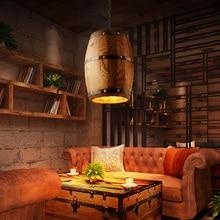 Barril de vino de madera adecuado para Bar, luces de cafetería, accesorio colgante creativo, iluminación DIY, techo, lámpara de barril de restaurante
