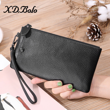 X.D.BOLO Long Wallet Genuine Leather  Women Purses Wristlet Design Double Zipper Fashion Coin Purse Phone Pocket Wallets