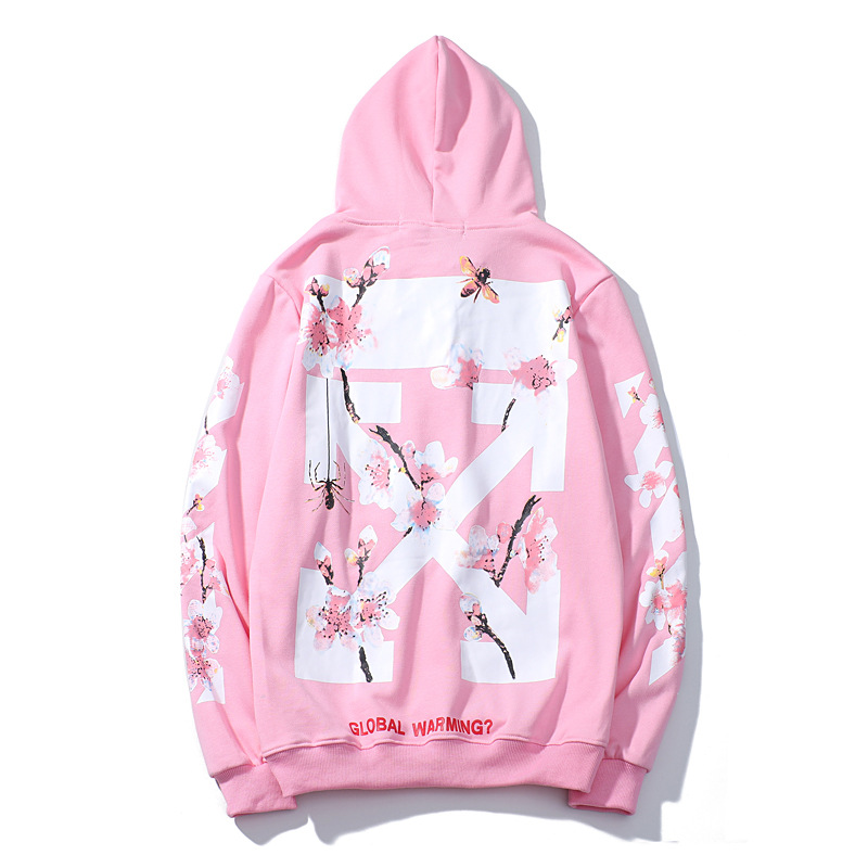 Autumn And Winter Europe And America Ow Popular Pink Peach Blossom Flower Men And Women Couples Hoodie Coat