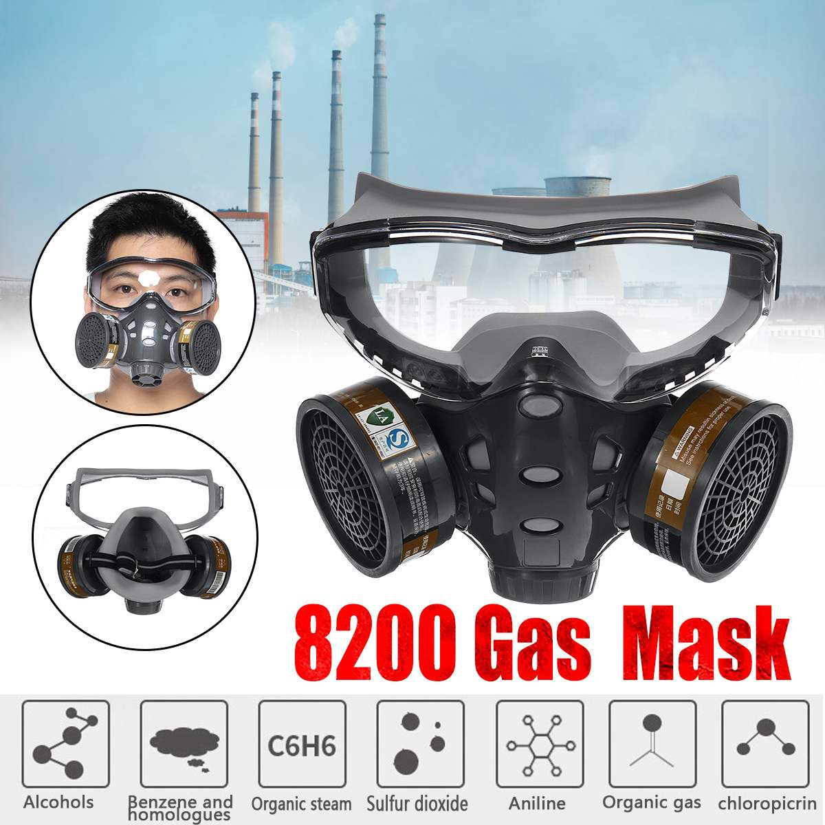 8200 Painting Spraying Respirator Dust Gas Mask Industry Chemical Half Face Gas Mask Facepiece Safety Respirator Medium