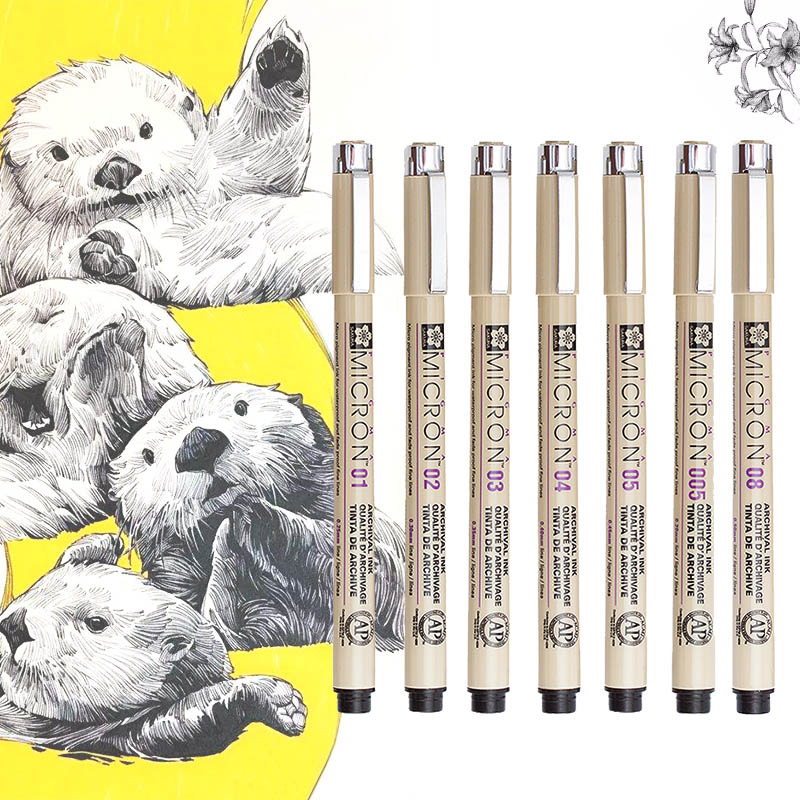Marker Set Pigma Color Micron Pen Brush Pen Drawing Painting Brush Pen 005 01 02 03 04 05 08 1.0 2.0 3.0 Brush Art Marker