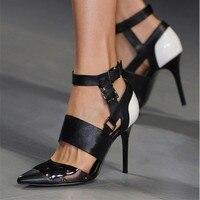 2020 Plus Size 45 Women High Heels Crystal Scarpins Women Fetish Royal Black Luxury Pumps Party Stiletto Buckle Party Shoes