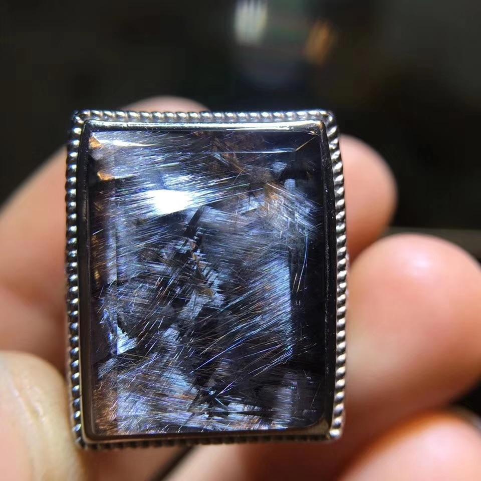 Natural Brookite Platinum Silver Rutilated Quartz Cat Eye Adjustable Men Ring 19x14mm Woman Men Love 925 Sterling Silver AAAAA