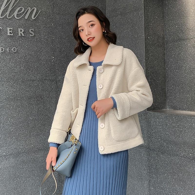 Élégant couleur unie veste femmes mode 2019 automne hiver simple boutonnage épais chaud manteau doux court vestes femme - 3
