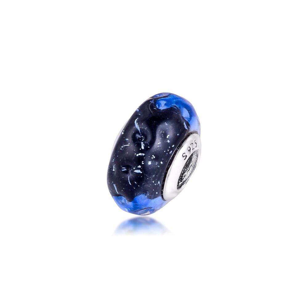 Ondulado azul escuro murano vidro oceano charme para pulseiras 2020 prata charme grânulos para jóias cor grânulo de vidro diy