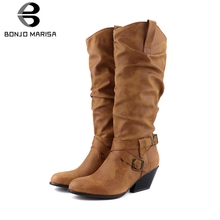 BONJOMARISA New Dropship Plus Size 34-48 Retro mid-calf Western Boots Women 2019 Winter Brand Pleated Med Heels Shoes Woman