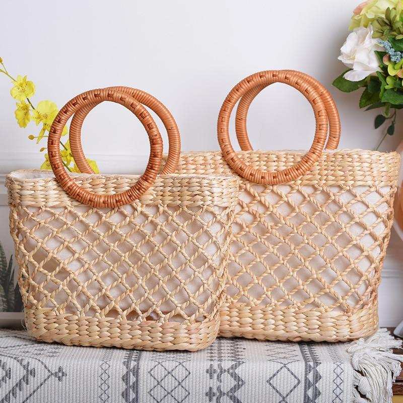 Elegant Women Bamboo Woven Handbag Square Summer Beach Travel Bag Tote Hollowed