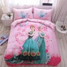 Disney Ice Princess Anna Elsa Pink Bedding Set Cartoon Down Quilt Cover Pillowcase Baby Children Girls Bed Gift Home Textile