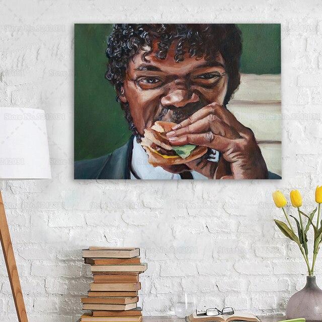 Jules Eats A Big Kahuna Burger Pulp Fiction Wall Art Printed on Canvas 2
