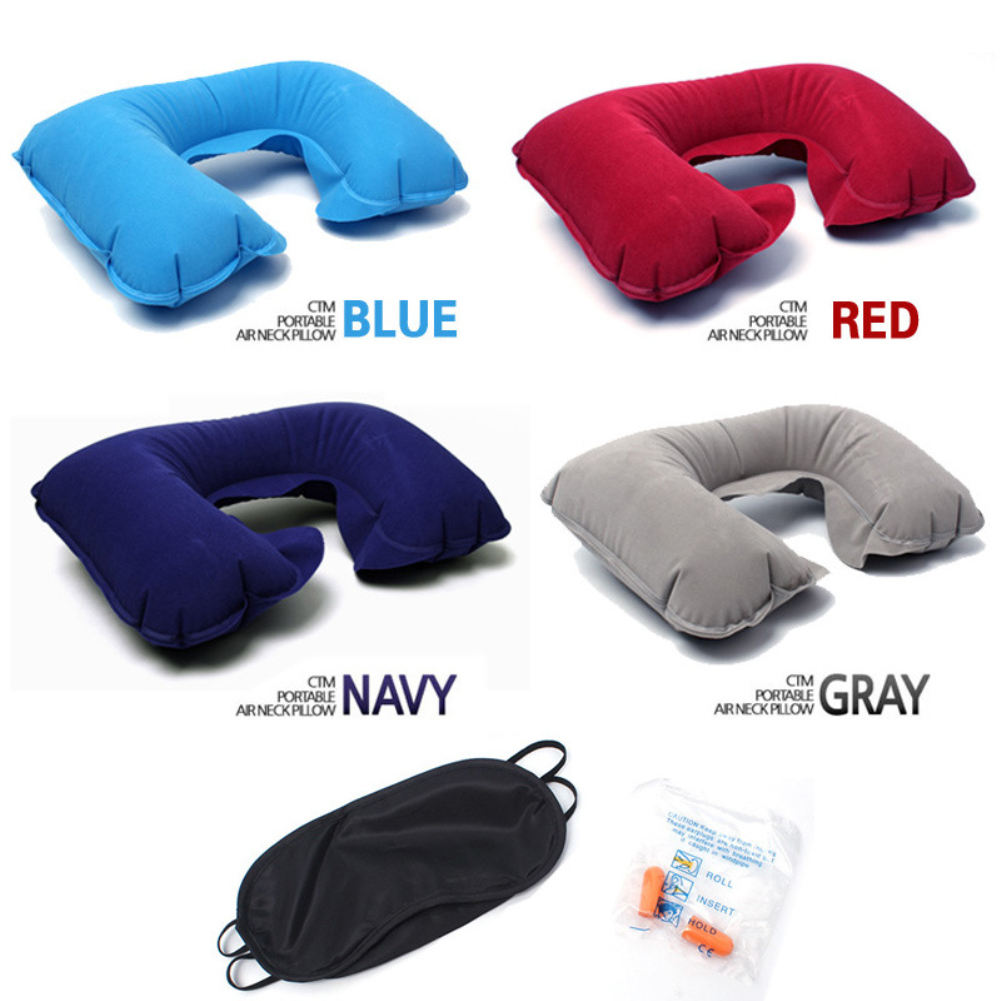 Outdoor Traveling Tourism PVC Flocking Inflatable U-shaped Pillow Car Travel Soundproof Earplugs Blackout Eye Mask Three-piece