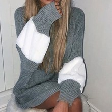 Autumn Winter Loose Sweater Dress Women Long Sleeve Patchwork Knitted Dress Casual O Neck Pullover Mini Dress цены