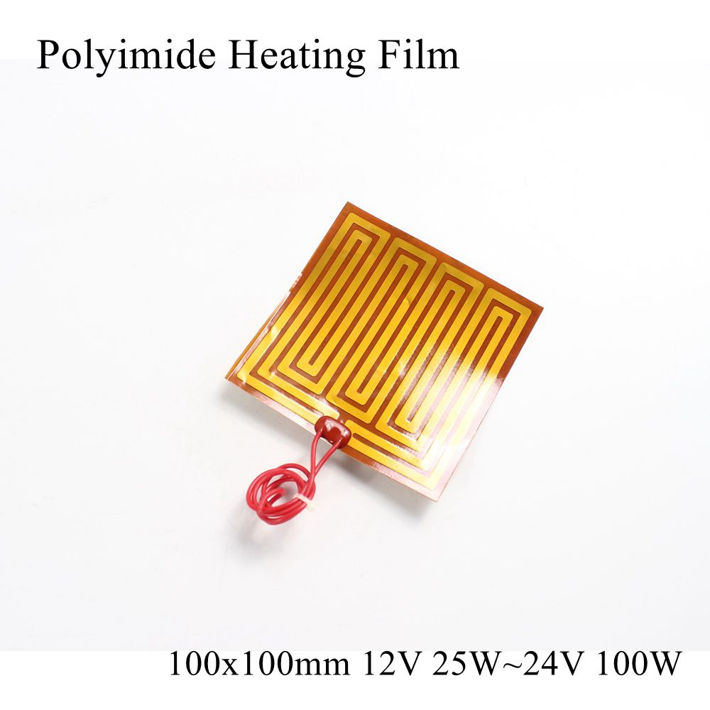 100x100mm 12V 25W 24V 100W PI Heating Film Plate Polyimide Electric Heated Panel Pad Mat Electrotherma Flexible Adhesive Heater