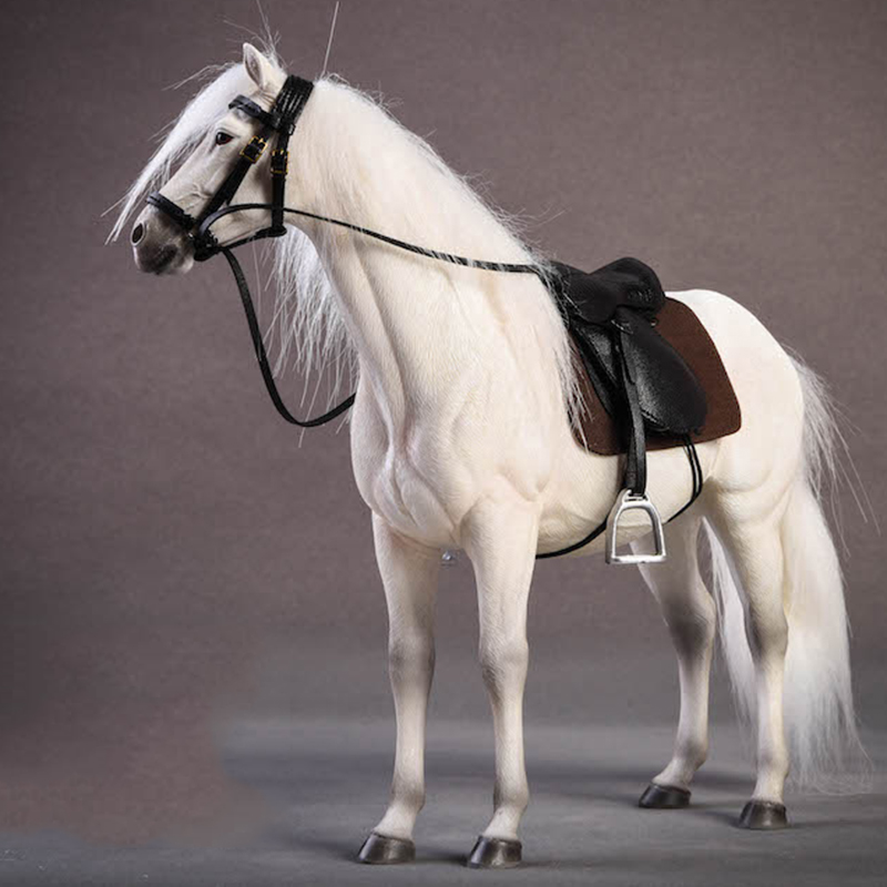About 21CM 1:12 Simulation PVC Warm Blood Horse Mounts Horse Animal Model Mount Kids Toys Home Decoration Collect Gift Display
