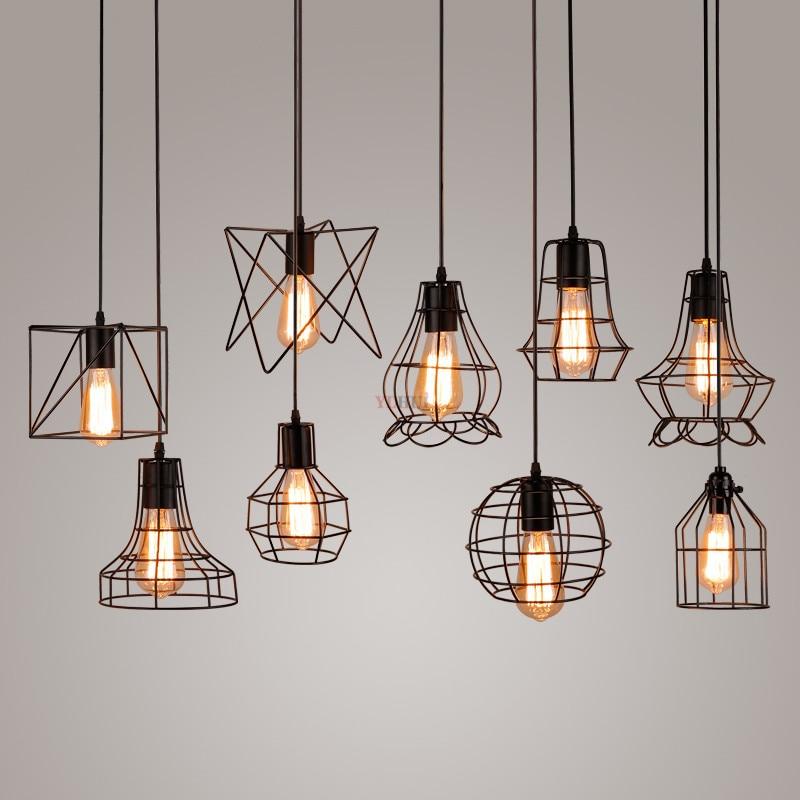 Industrial Retro Iron Pendant Lights Dining Room Restaurant Kitchen Hanging Lamp Loft Vintage Simple Bedroom Bar Pendant Lamps