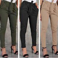Ceintures pantalon Slim femmes décontracté Slim mousseline de soie mince pantalon pour femmes taille haute noir kaki vert pantalon
