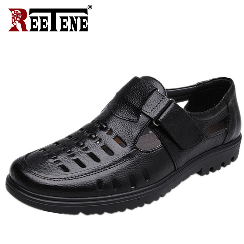REETENE Leather Casual Shoes For Men High Quality Classic Men Sandals Summer Outdoor Walking Men Sneakers Breathable Men Sandals