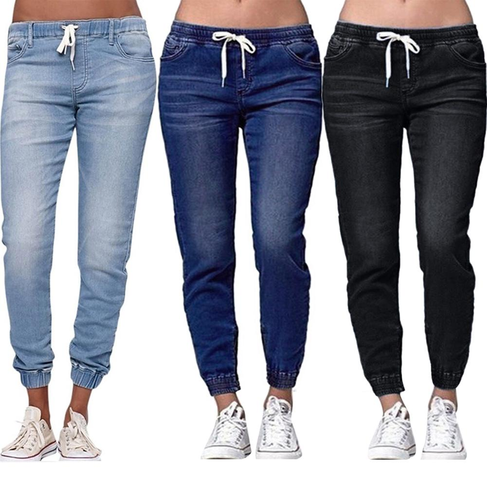 Casual Women Plus Size Drawstring Elastic Waist Jeans Loose Denim Long Pants  Drawstring Elastic Waist Jeans Denim Pants