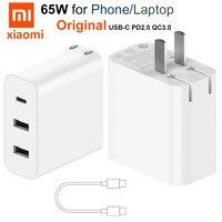 Original Xiaomi 65W cargador de 3 Puerto USB-C rápido de carga tipo-C de 2,0 QC3.0 para iPhone 12 Pro Max Macbook aire Asus lenovo HP DELL