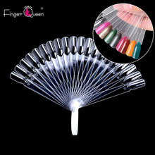 FingerQueen 20 Nail Color Card Demountable Tips Fan-shaped Design Nail Art Practice Training Polish Color Holder Display Chart(China)