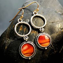 New Fashion Silver Color Antique Inlaid Field Jade Jasper Red Lady Agate Lady Earrings Earrings Wholesale(China)