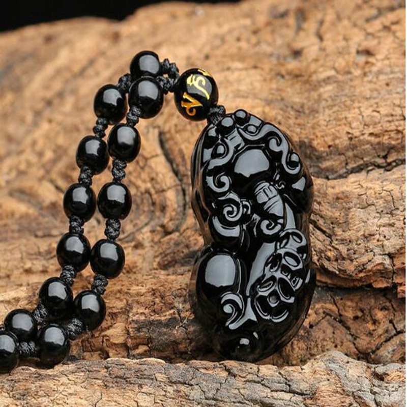 Natural Obsidian Hand Carved Pi Xiu Pendant Jewelry Lucky To Ward Off Evil Auspicious Amulet Pendant Jade Fine Jewelry