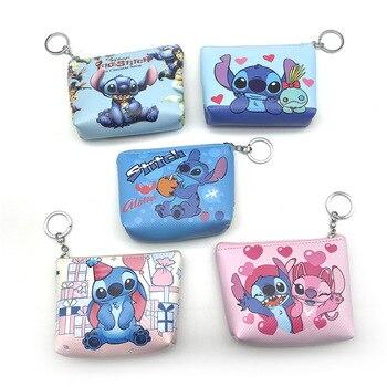 ZGY Stitch, monedero de dibujos animados de Anime Lilo & Stitch, monedero, bolso de chica, monedero, paquete de monedas, carteras de cuero con cremallera para niños, regalos para niños