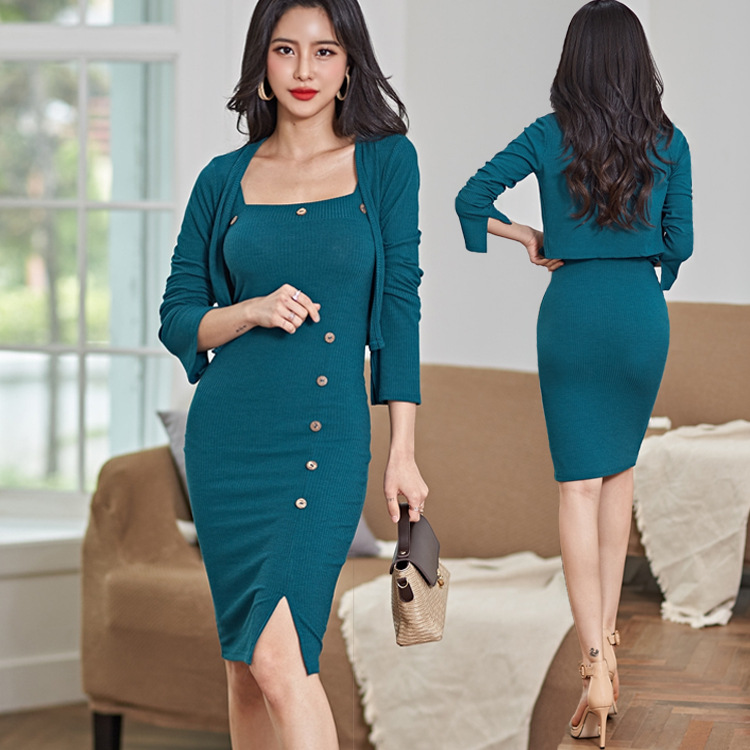 Autumn Set 2020 New Style Knitted Cardigan Strapped Dress Goddess-Style Fashion Western Style Two-Piece Set