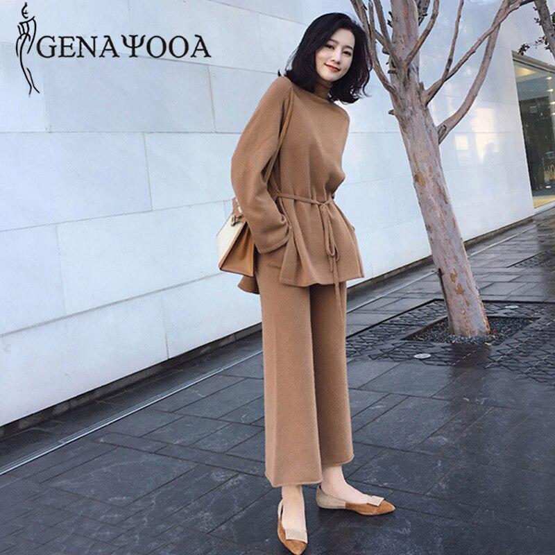 Genayooa 2019 Winter Autumn Knitting Wide Leg Pants Suit Long Sleeve Two Piece Suits Elegant 2 Piece Sweater Pants Set 2019