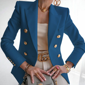 Women's New Solid Color Fashion Sexy Multi Buttons 2020 Summer And Autumn Casual Suit Office Wear Elegant Short Coat FC996 13