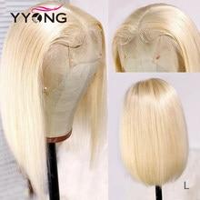 Yyong pelo rubio T parte Bob corto pelucas de encaje 613 recto HD pelo humano Peluca de encaje sin cola Remy rubio miel Bob peluca 120% de densidad