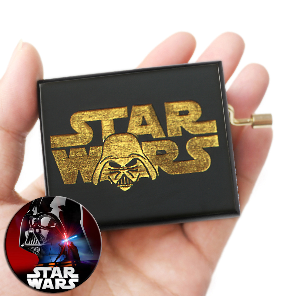 Star Wars Music Box Hand Crank Musical Box Carved Wooden,Play Star Wars Theme Song,Black