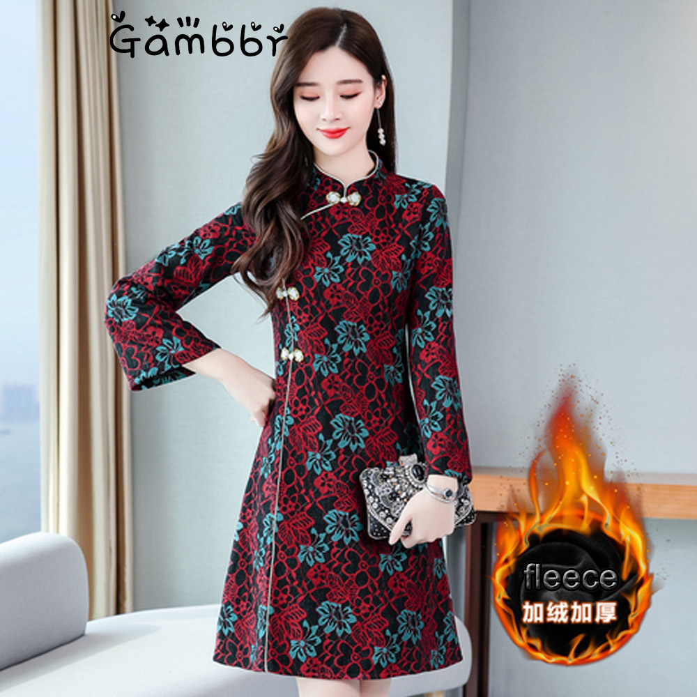 Plus Size Cheongsams Chinese Style Qipao Dress Long Sleeve Winter Fleece Warm Thick Improve National Traditional New Year Dress