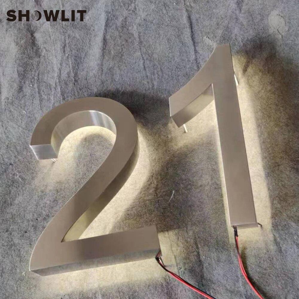 12 ''de hauteur en plein air LED acrylique numéro de maison lettres d'adresse étanche rétro-éclairé numéros