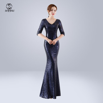 Skyyue Evening Dress Sexy V-Neck Sequin Women Party Dresses Zipper Robe De Soiree 2019 Plus Size Half-sleeve Formal Gowns C067