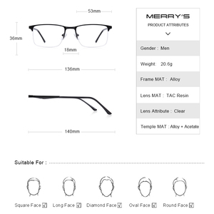 Image 4 - تصميم نظارات من ميريس للرجال بإطار من خليط معدني من التيتانيوم نظارات قصر النظر خفيفة بنصف مربع للرجال S2059