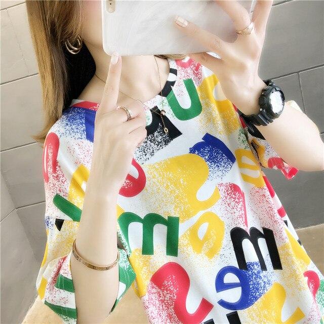 Фото женская футболка с коротким рукавом свободная уютная надписью