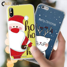 Caseier Natal 2019 untuk iPhone X XR X MAX 8 7 Soft Case Funda untuk iPhone 6 6 S 7 Plus 8 PLUS Couque Shell(China)