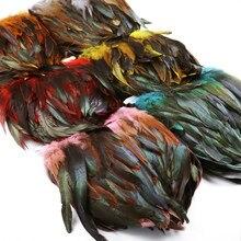 1m 13-18cm natural frango/galo sela penas franja guarnições fita pluma decoração acessórios artesanato para roupas de costura