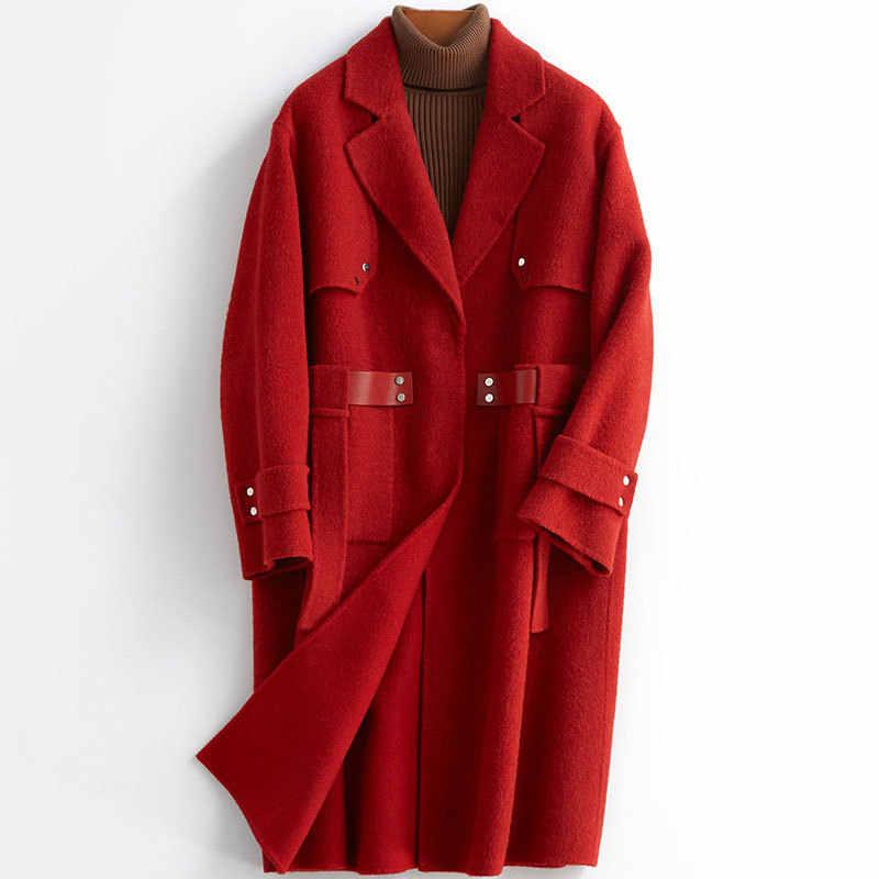 Echte Bontjas Vrouwen 100% Wollen Jas Vrouwen Kleding 2020 Dubbelzijdig Wollen Overjas Koreaanse Vintage Bont Tops Y19Y05739 YY1919