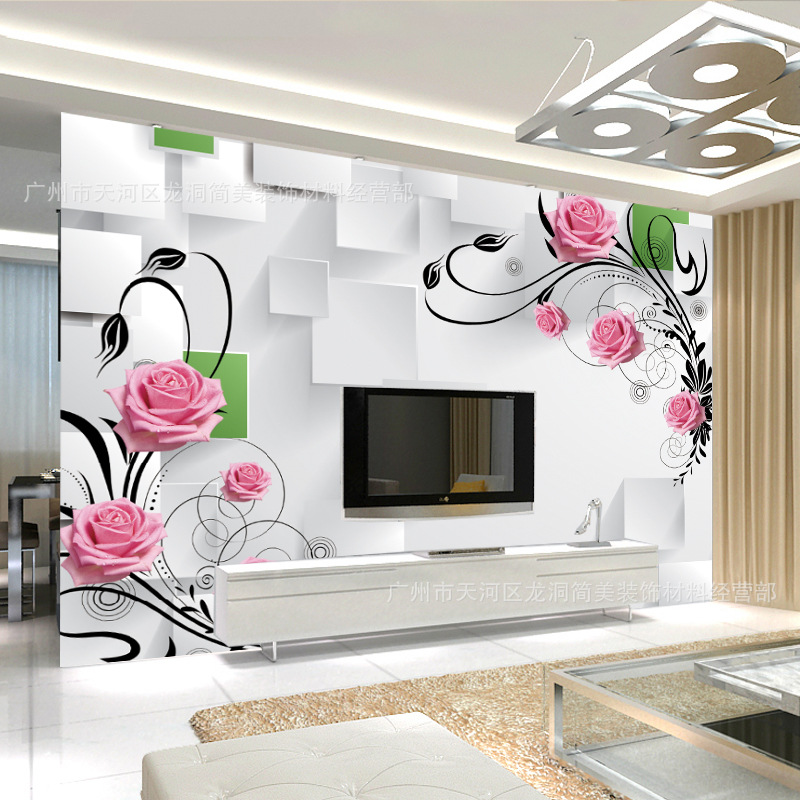 Customizable TV Backdrop Wallpaper Minimalist Modern Bedroom 3D Nonwoven Fabric TV Wall Living Room Wallpaper Mural