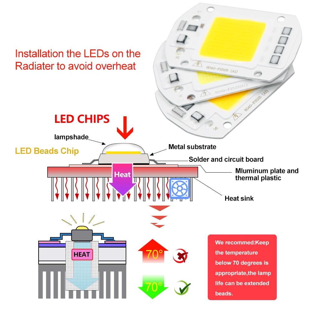 COB LED Lamp CHIP 220V 110V LED Lights Bulb 10W 20W 30W 50W IP65 Smart IC DIY Flood light Bulb Spotlight Lamp Outdoor Lighting 5