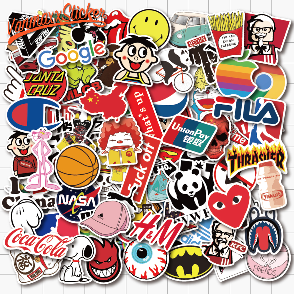 100 PCS Popular Brand LOGO And Symbols Stickers Waterproof PVC Decal For Laptop Helmet Bicycle Luggage Guitar Phone Case Car