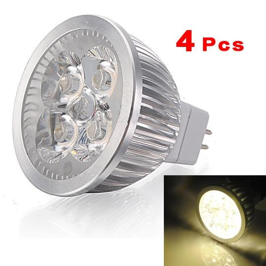 Işıklar ve Aydınlatma'ten LED Spot Işıkları'de 4X MR16 4W 4 LED sıcak beyaz enerji tasarrufu spot işık lamba ampulü 12v sıcak beyaz işık title=