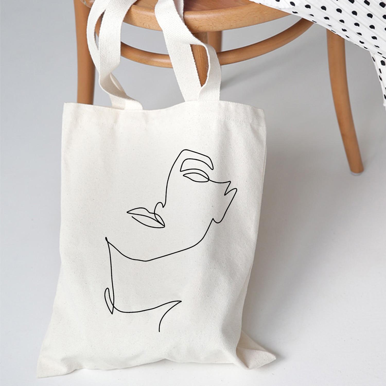 Women Shoulder Bags Fashion University Canvas Harajuku Vintage Ulzzang Print Cartoon New Summer Abstract Korean Fabric Tote Bag